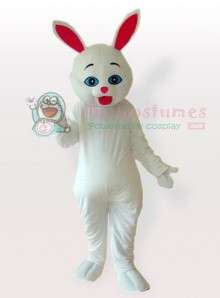 Red Ears Easter Bunny Rabbit White Adult Mascot Costume