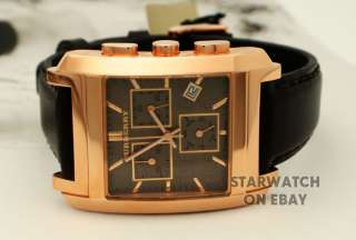 550 Burberry BU1566 men watch brown leather gold ion plated chrono