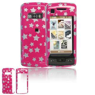 For LG VX11000 EnV Touch Voyager 2 Hot Pink Silver Stars Snap On Hard