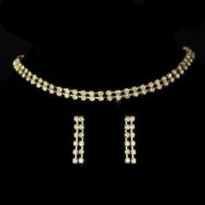 Gold Clear Crystal Double Strand Necklace Earring Set Jewelry
