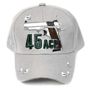 GREY 45 ACP COLT PISTOL GUN REVOLVER HAT CAP ADJ NEW
