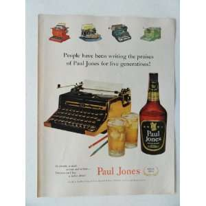 Paul Jones Whiskey. Vintage 50s full page print ad. Color