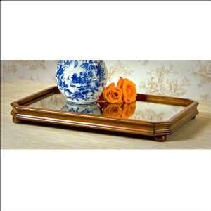 Finish Wood Tray with Antique Mirror
