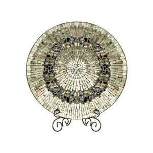 Dale Tiffany PG10158 Antique Silver Mosaic Charger With Stand