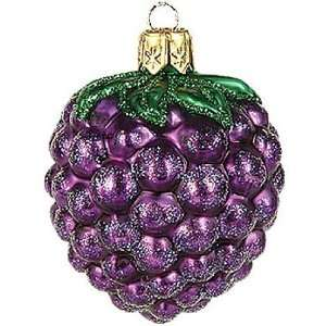 Blackberries Polish Glass Christmas Ornament, Set of 2