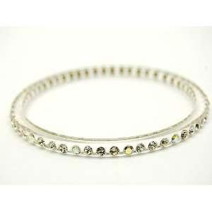 Thin Clear Lucite Swarovski Crystal Bangle Bracelet