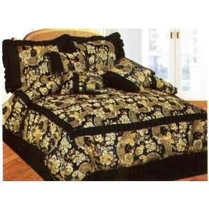 Size Jacquard Black & Gold Comforter Bed in a Bag Set