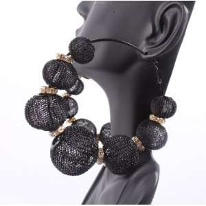 Black Large Mesh Disco Ball Hoop Earrings with 6 Iced Out