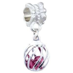 Ball in February Birthstone Silver Plated Dangle Style European Charm
