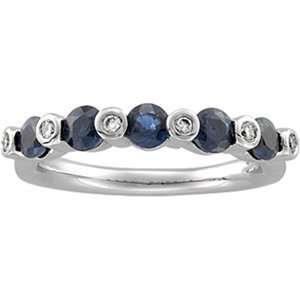 10 Carat Genuine Sapphire and Diamond 14K White Gold Birthstone Ring