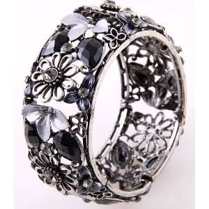 Jewelry Antique Black Acrylic Jewelry Flower Cuff Bangle Bracelet