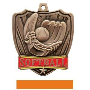 Medals BRONZE MEDAL / ORANGE RIBBON 2.5 SHIELD SOFTBALL MEDALS: Sports