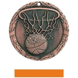 Hasty Awards Custom Basketball Medal M 300B BRONZE MEDAL/ORANGE RIBBON