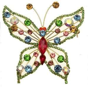 Acosta Brooches   Green Diamante & Multi Colored Crystal   Large Gold
