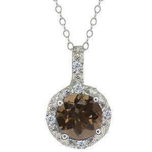 Brown Smoky Quartz and White Diamond Sterling Silver Pendant Jewelry