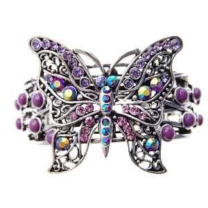 Lavender Pink Crystal Rhinestone Butterfly Bangle Bracelet Jewelry