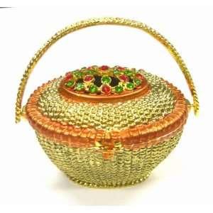 Flower Basket Box   Jewelry Trinket Box Swarovski Crystal (L) (JF1902)