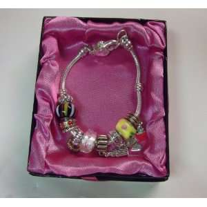 Sophia Glass Bead & Crystal Stone Charm Bracelet With