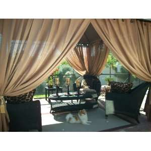 Outdoor Gazebo Patio Drapes Toffee Sheers 108 Includes