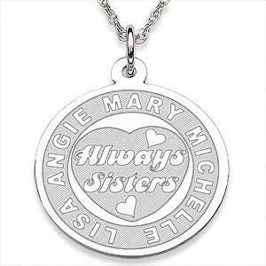 Sterling Silver Always Sisters Engraved Pendant   Personalized Jewelry