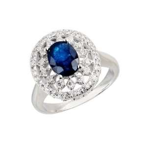 14k White Gold Anniversary Ring with Oval Cut Sapphire and Round Cut