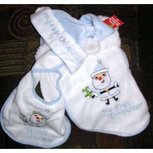 Babys My First Christmas Blue and White Stocking Hat and