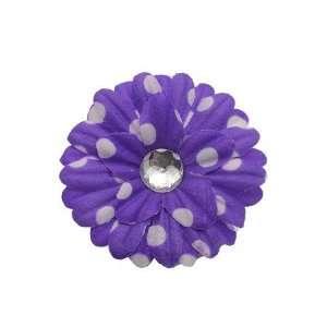 Center Daisy Flower   Purple/White Dots   12 Pieces