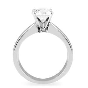 Ring with Round Cut Center Diamond ( 0.55 CT , F Color, I1 Clarity