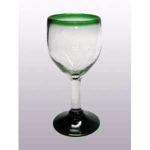 Emerald Green Rim small wine glasses (set of 6)   FREE