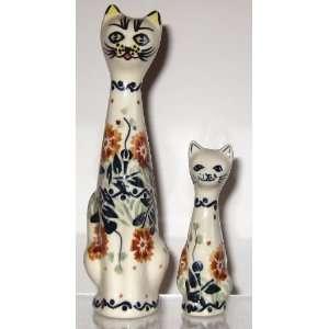 Polish Pottery Set of 2 Cat Statues Figurines 6.3 3.5 KLA Tuscany