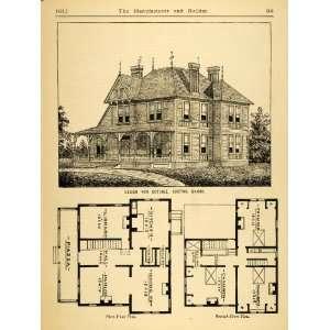 1881 Print Cottage Architectural Design Floor Plan
