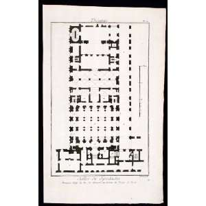 1770 Copper Engraving Architectural Ground Floor Plan Teatro Regio