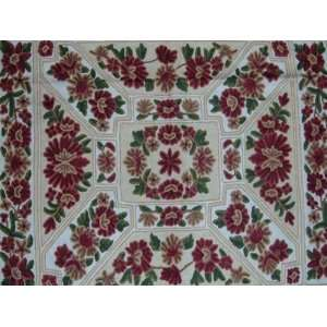 Crewel Rug Floral Vine Arrangement Multi Chain Stitched Wool Rug(4X6FT