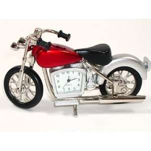 Miniature Quartz Clock in Motorcycle Style Silver Color: Toys & Games