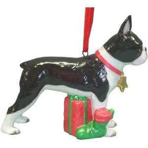 Holiday Boston Terrier Dog Ornament Statue Figurine