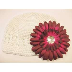 With a 4 Burgundy Gerbera Daisy Flower Hair Clip