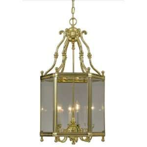 Crystorama Solid Brass Clear Glass Beveled Lantern