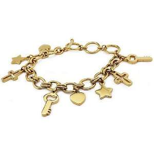 Gold Plated Stainless Steel Charm Bracelet 7.5 Inches to 9