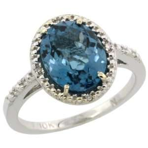 10k White Gold ( 10x8 mm ) Halo Engagement London Blue Topaz Ring w/ 0