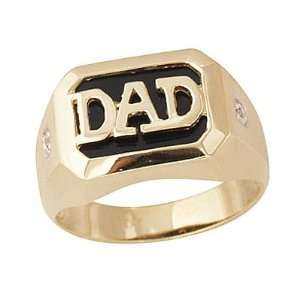 Onyx & Diamond DAD Ring Yellow Gold SZUL Jewelry