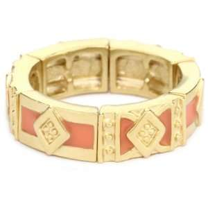 Tahari Marrakesh Gold and Coral Color Stretch Band Ring Jewelry