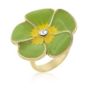 14k Gold Bonded Light Green Large Enamel Flower Ring with Clear Cubic
