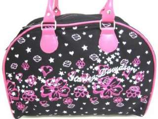 Black / Pink Harley Davidson Flowered Handbag Licensed