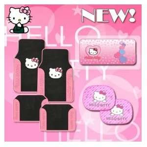 Hello Kitty Car Floor Mats Set with Large Pink Windshield Sunshade and