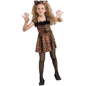 Girls Sweet Kitty Costume Leopard Dress & Ears Medium 7 8