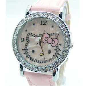 Hello Kitty Crystal and Mother of Pearl Background Pink Band Watch