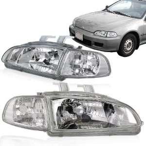 92 95 Honda Civic 2/3DR Chrome Headlight with Clear Corner