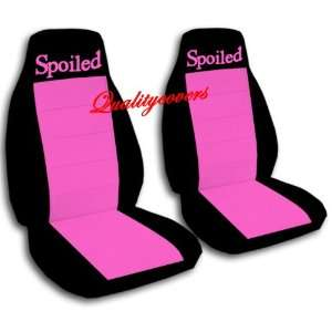 2 Black and hot pink Spoiled car seat covers for a 2002