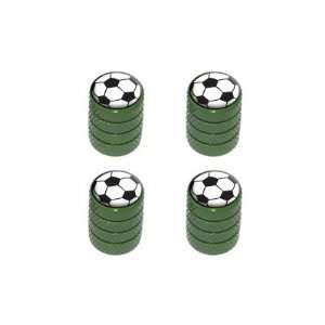 Soccer Ball   Sport Tire Rim Valve Stem Caps   Green