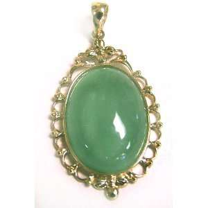 Jade Oval Pendant with 14K Yellow Gold Lace Bezel Jewelry